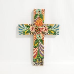 Folk Art Hand Painted Heart on Fire Wood Cross